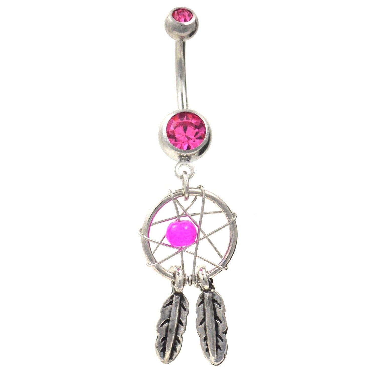 Amazon.com: dream catcher gem & feathers navel ring fancy style belly button piercing jewelry w/pink cz stones: body piercing rings: jewelry