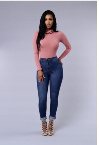 top pink nude bodysuit beautiful jeans blue sexy pretty gorgeous turtleneck