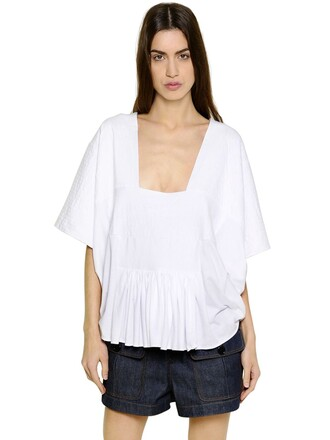 t-shirt shirt quilted cotton white top