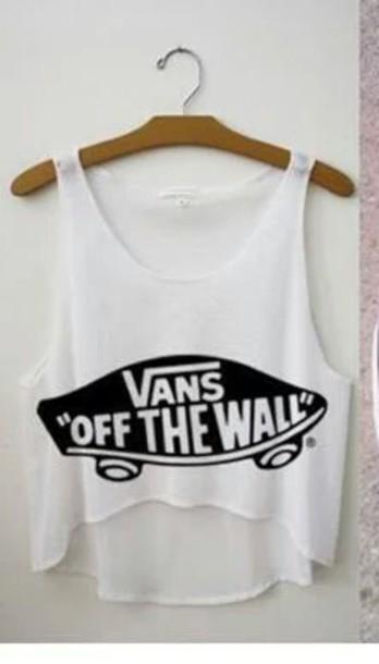 tank top vans black white top clothes shirt cool amazing