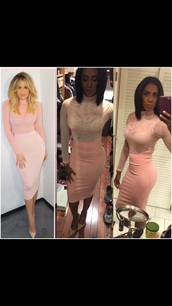 dress,khloe kardashian,bodycon skirt,pink skirt,nude top,long sleeves