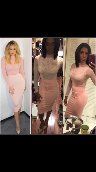 dress khloe kardashian bodycon skirt pink skirt nude top long sleeves