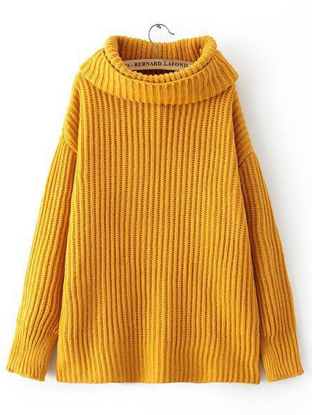 Yellow turtle neck long sleeve loose knit top