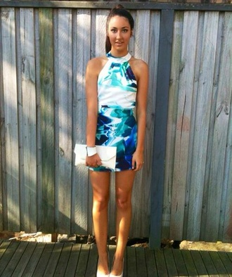 dress blue dress white dress cocktail dress formal dress party dress bodycon halter dress halter neck mixed colors
