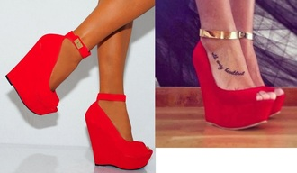 shoes ankle strap ankle cuffs wedge heel red wedges peep toe open toes suede shoes red shoes gold detail high heels