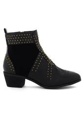 shoes,stacked,heel,studded,bootie,black
