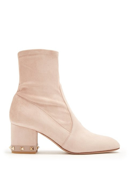 Valentino - Rockstud Suede Ankle Boots - Womens - Nude