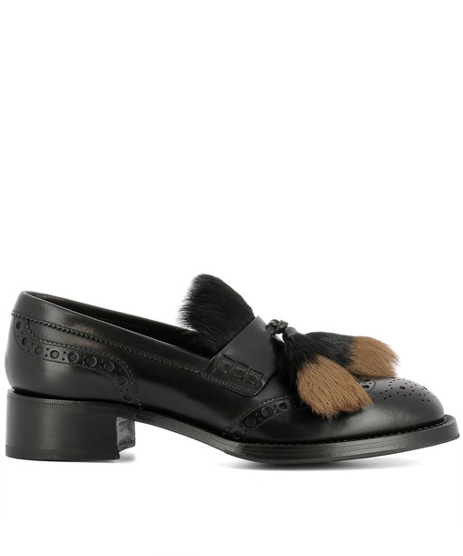 Prada loafers leather black black leather shoes