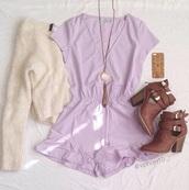romper,purple dress,sweater,shoes,jewels