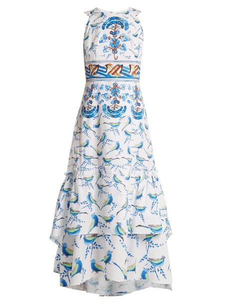 Peter Pilotto dress midi dress sleeveless midi cotton print blue