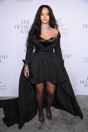 shoes,sandals,sandal heels,all black everything,rihanna,nyfw 2017,ny fashion week 2017,gown,prom dress,necklace,high low dress