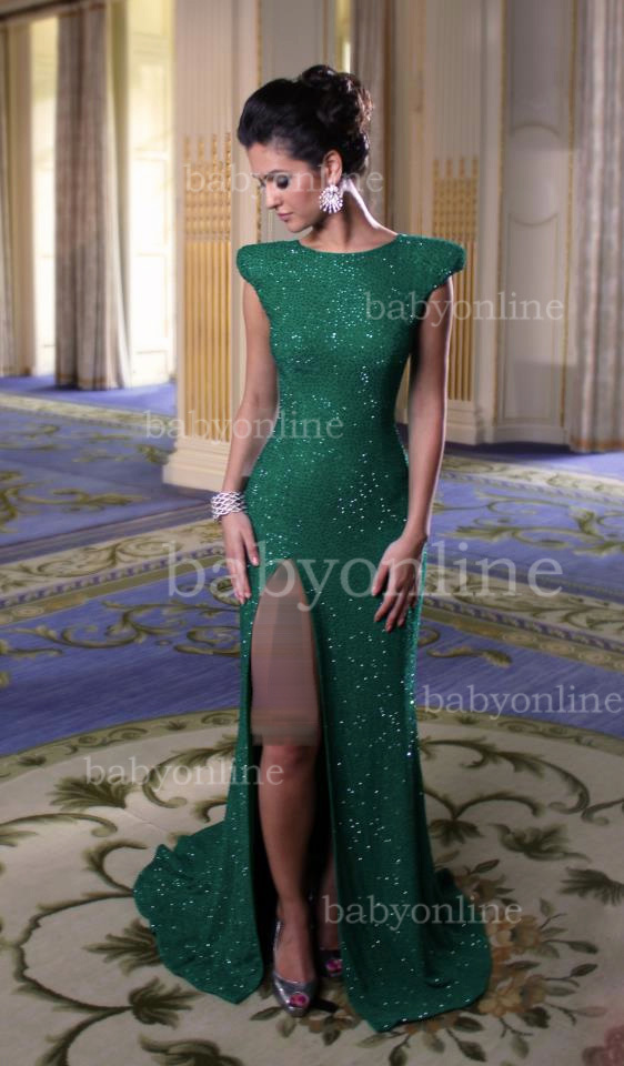 New arrivals scoop neck split  side cap sleeves sequin  dress green evening dress 2013  ga009