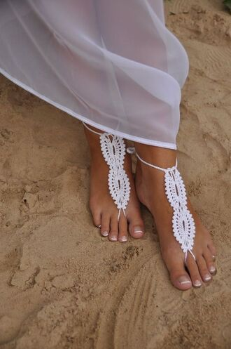 shoes white barefoot sandals barefoot sandals lace barefoot sandals crochet beach shoes beach wedding
