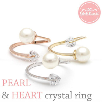 ring heart ring jewels adjustable ring pearl ring heart crystal ring pure