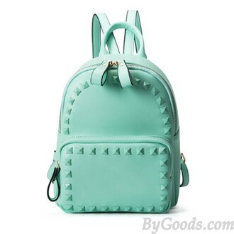 bag mint green backpack candy rivets