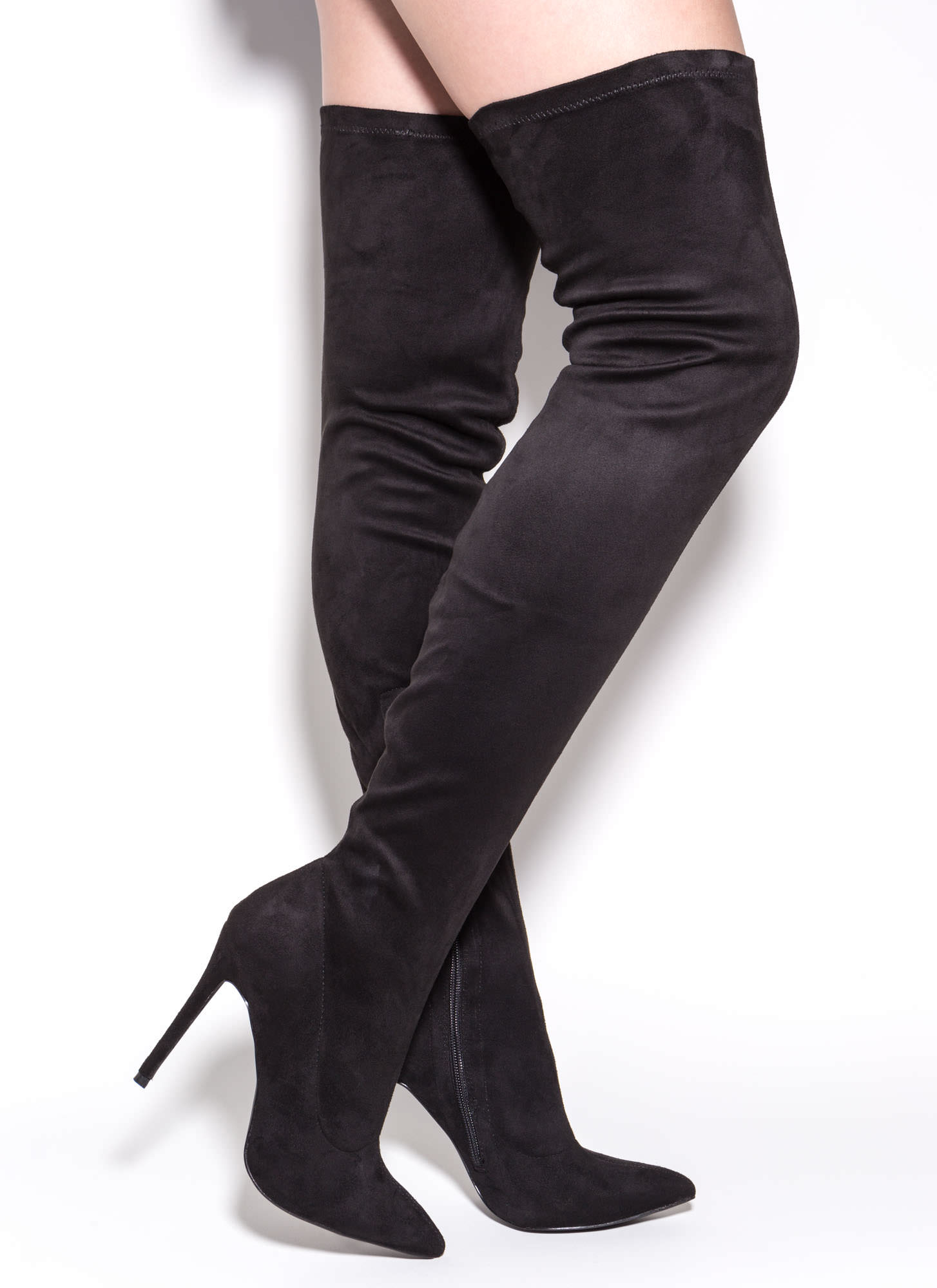 Story Chic Thigh-High Boots BLACK GREY MAROON OLIVE - GoJane.com