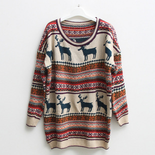 LOOSE VINTAGE REINDEER JUMPER 1 on Luulla