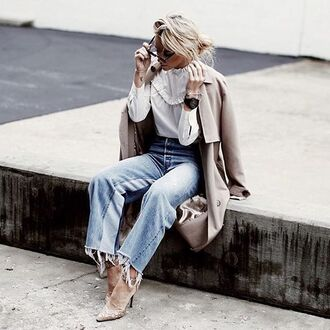 coat tumblr trench coat nude coat topshop white top ruffle ruffled top denim jeans blue jeans high heels ankle strap heels frayed denim blogger happily grey beige coat