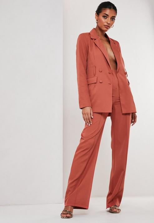 Rust Co Ord Seam Detail Straight Leg Trousers