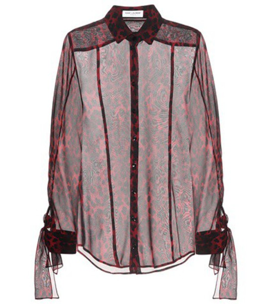 blouse silk red top