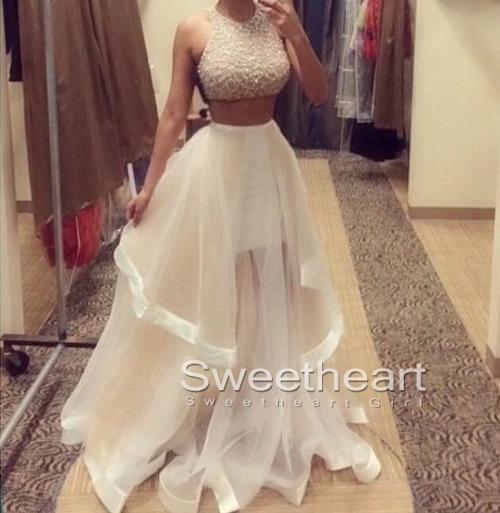 Sequins tulle flouncing long prom dresses, formal dress