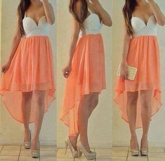 dress peach dress high-low dresses chiffon skirt white dress