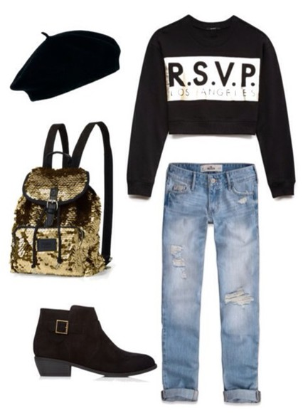 jeans ankle boots bag backpack sequins ripped jeans los angeles