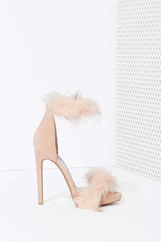 shoes fur heels tan