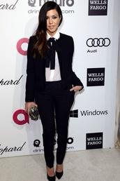 dress,smoking pants,fitted trousers,tuxedo pants,black waterfall blazer,white shirt,neck tie,kourtney kardashian