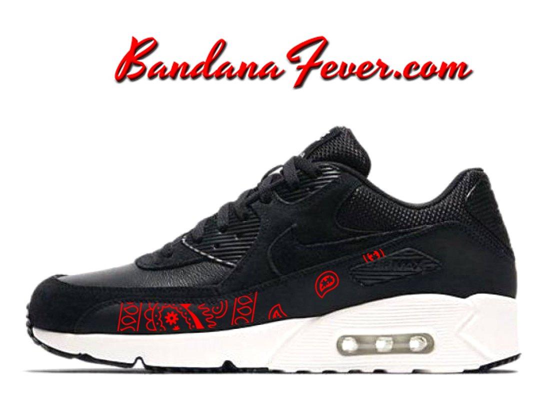Custom Red Bandana Nike Air Max 90 Ultra Shoes BlackSummit White, #Nike #running, by Bandana Fever