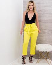 pants,moda fina boutique,emily ruffle waist drawstring cuffed pants