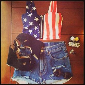 t-shirt debardeur american flag swag american printed t-shirt printed top shirt american shorts high waisted shorts cut off shorts shoes sunglasses top usa style pants