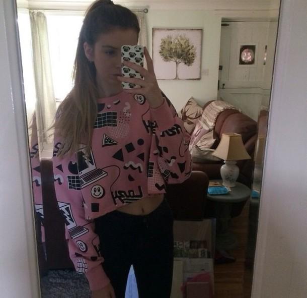 sweater pink white black