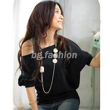 Fashion Sexy Women's Trendy Batwing Sleeve Off-shoulder Top Shirt Buttons Blouse