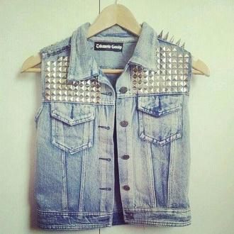 jacket noraasolstad.blogg.no vest demin awsome love jeans studs studded jacket denim jacket vintage jacket rock denim coat