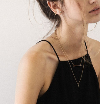 shirt clothes jewels jewelry necklace layered top tank top black top black cami dainty jewelry delicate necklace delicate gold necklace delicate gold jewellery gold earrings
