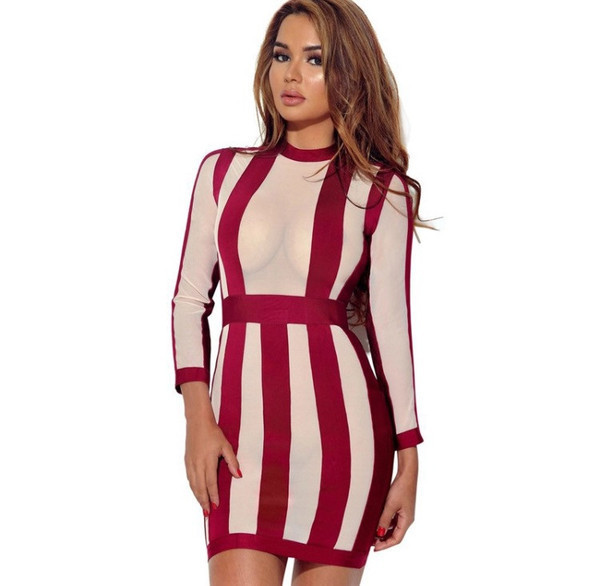 MESH STRIPED MINI DRESS