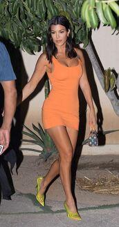 dress,orange,orange dress,mini dress,bodycon dress,pumps,kardashians,kourtney kardashian