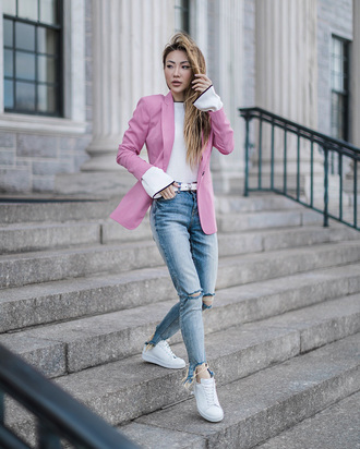 jacket tumblr pink pink blazer denim jeans blue jeans sneakers white sneakers top white top