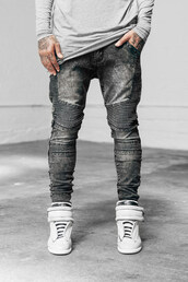 shoes,tumblr clothes,dope,urban,street,grey jeans,menswear,urban menswear,mens sportswear,mens straight jeans,mens skinny jeans,mens high top sneakers,jeans,fashion
