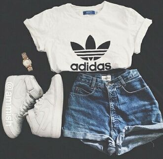 t-shirt shorts shoes blue blouse white adidas cool tumblr swag dope hot black shirt top denim white t-shirt adidas shirt outfit unisex adidas originals nike denim shorts summer shorts