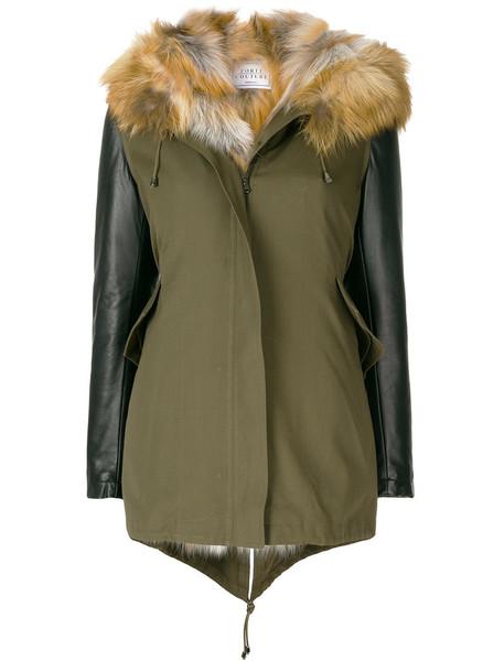 FORTE COUTURE parka fur fox women green coat