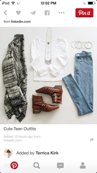 cardigan brown shoes sandals white shirt jeans silver silver jewelry long necklace blue jeans brown sandals grey sweater