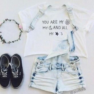 top white top t-shirt graphic tee crop tops pants shorts overalls denim overalls demin shorts overalls