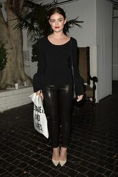 blouse,top,pants,lucy hale,all black everything,long sleeves,fall outfits