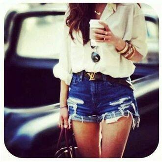 shirt white sheer shirt shorts blouse summer summerish summer outfits outfit summer shorts ripped shorts cut offs classy classy outfit louis vuitton louis vuitton belt belt