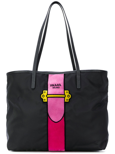 Prada - Cahier tote bag - women - Leather/Polyester - One Size, Black, Leather/Polyester