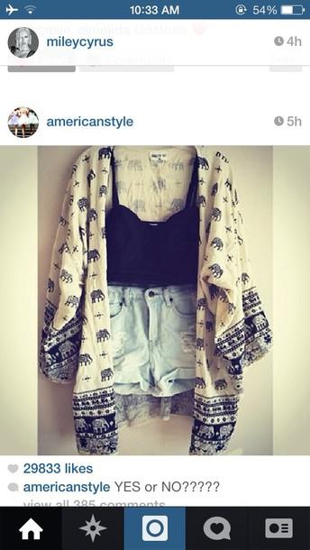 blouse kimono elephant