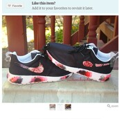 shoes,painted,custom,nike roshe run,nike,customize,floral,floral nike roshe,custom roshe run,pink,red,black