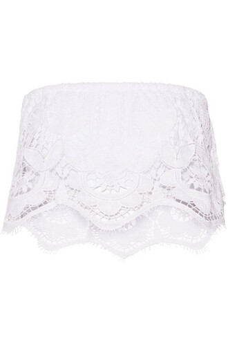 top lace top cropped lace white cotton